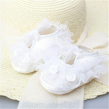 Newborn Infant Baby Girl Princess Non-Slip Lace Flower Baby Shoes Soft Sneaker White 0-3M - Toddler Slip
