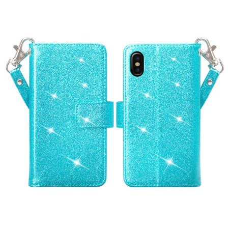 iPhone X Case, Apple iPhone X Wallet Case, Glitter Faux Leather Flip Credit Card Holder Wrist Strap Protective Purse Wallet Case Clutch for iPhone X - (Teal) - image 1 of 4