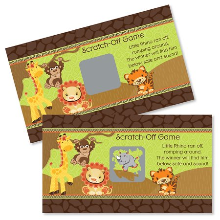 Funfari - Fun Safari Jungle - Baby Shower or Birthday Party Game Scratch Off Cards - 22 Count - Jungle Birthday Party