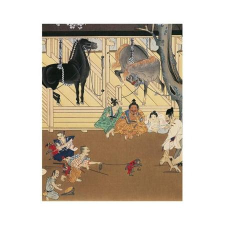 Umaya-Zu, Horses in Stables, Decorative Screen, Japan, Muromachi Period, 16th Century Print Wall (Horse Screen)