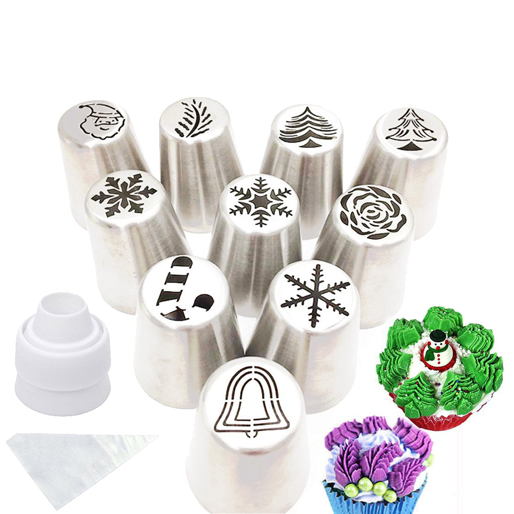 4 Piping Nozzles Tips Dessert Decorator for Icing Decorating Cream Making Cupcake Frosting Pastry Cream Pen KOKSI Cake Decorating Tool