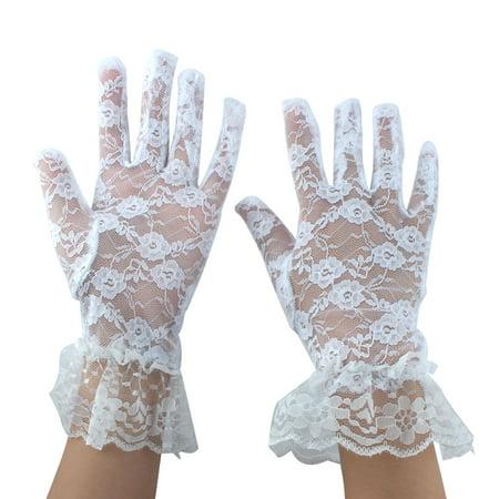 Women Driving Spring Summer Full Finger Sun Resistant Gloves Mittens White Pair