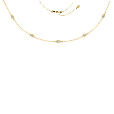 14k Yellow Gold 5pc Marquise Shape Cubic Zirconia Stations Adjustable Choker - 16 Inch