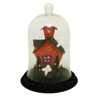 """Allstate 9"""" Lighted Spooky Haunted House with Ghosts Decorative Halloween Dome Cloche"""