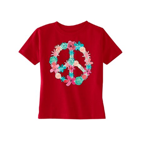 Floral Peace Sign Garden Nature TODDLER T-shirt Colored Flowers