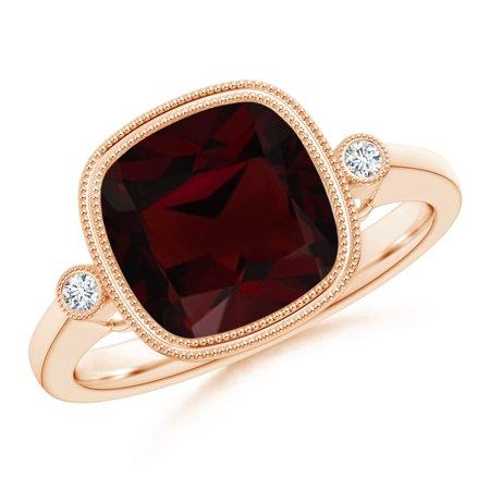 Valentine Jewelry Gift - Bezel Set Cushion Garnet Ring with Milgrain Detailing in 14K Rose Gold (9mm Garnet) - SR1069GD-RG-A-9-7
