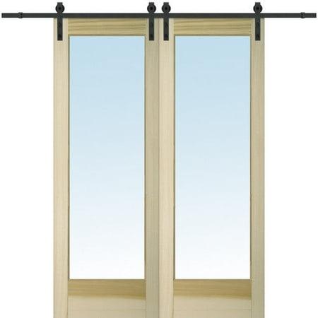 Verona Home Design Mdf And Glass 2 Panel Unfinished Barn Interior Door