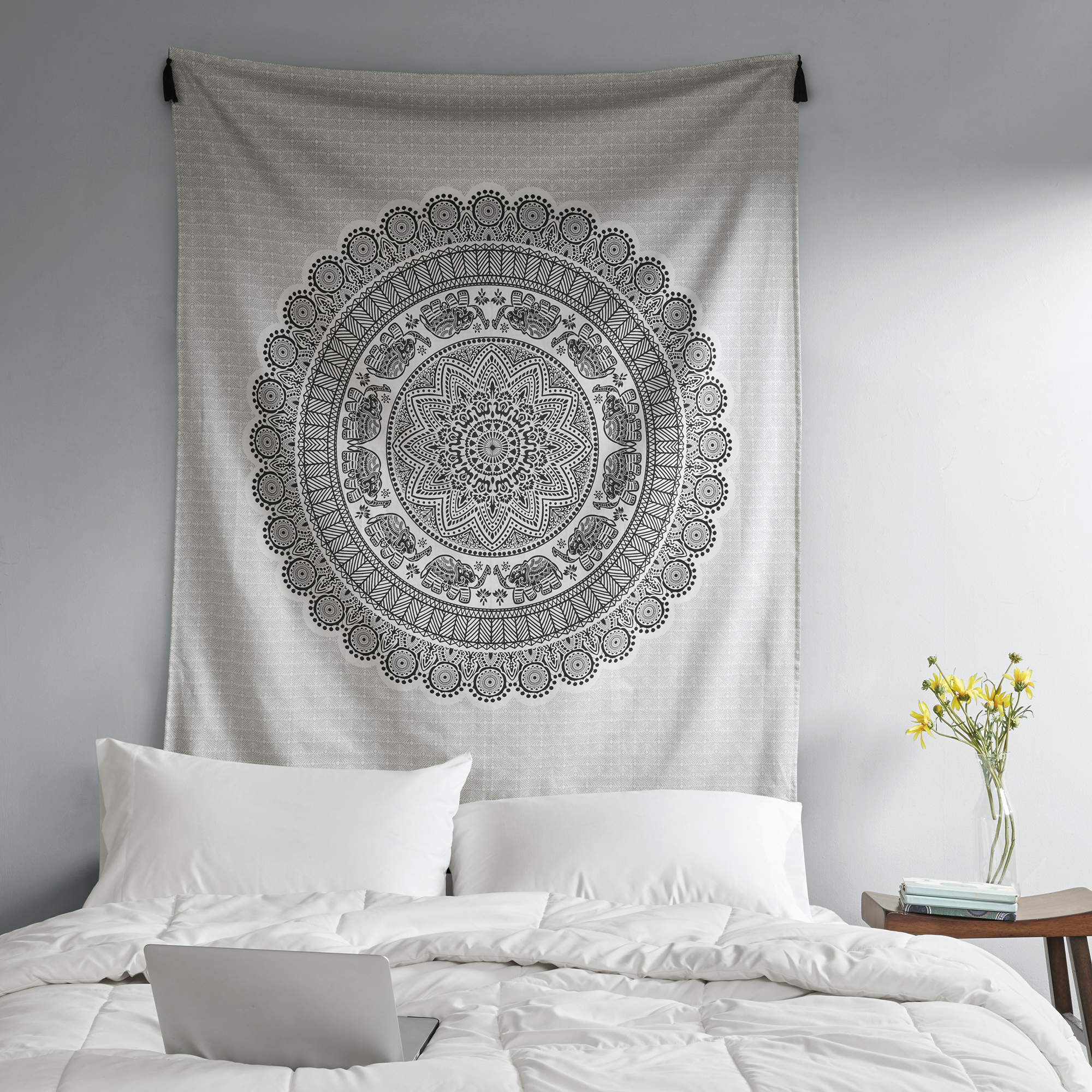 Black and White Medallion Cotton Print Decorative Wall Tapestry by JLA Home