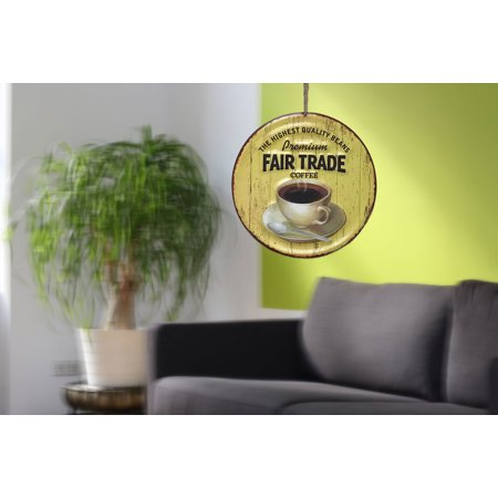 Fair Trade Garden - Creative Motion Round Painted Art with Premium Fair Trade Coffee - The Highest Quality Beans Metal Wall Décor. ; Product Size: 15 x 15 x 0.2