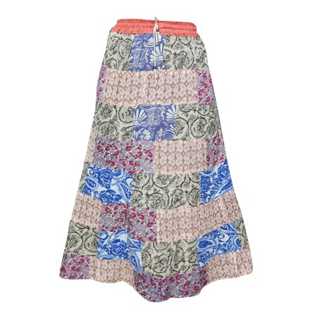 Mogul Women's Vintage Patchwork Skirts Floral Print Peasant Long Skirts](Peasant Skirt)