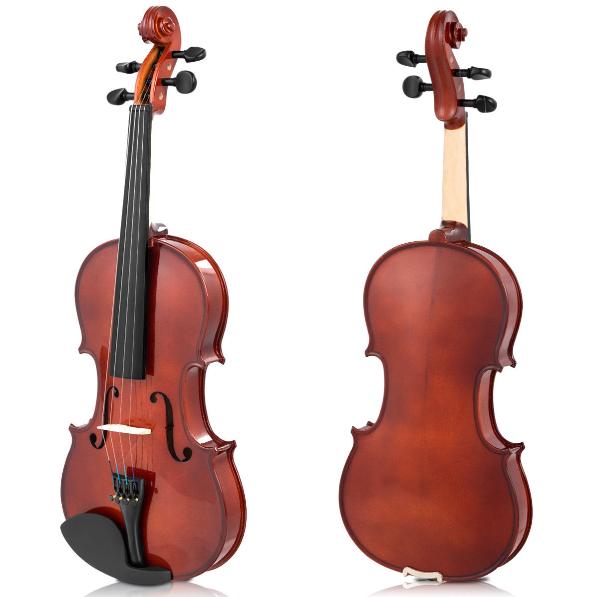 Full Size 4/4 Violin Solid Wood w/ Hard Case Bow Rosin Bridge Student Starter - image 8 de 10