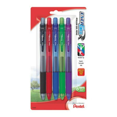 Pentel EnerGel-X Retractable Liquid Gel Pen, 0.5 mm, Assorted Colors, Pack of 5