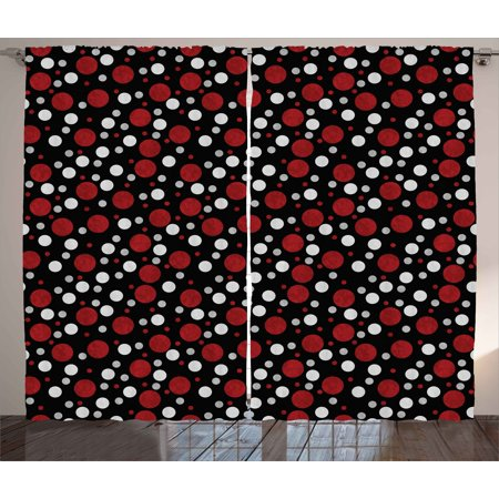 Red and Black Curtains 2 Panels Set, Retro 60s 70s Cartoon Snow Like Polka Dots Circles Rounds, Window Drapes for Living Room Bedroom, 108W X 90L Inches, White Light Grey - White And Burgundy