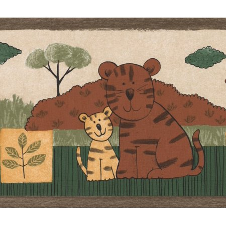 Wallpaper Border - Animals with their Babies Elephant Lion Tiger Brown Beige Green Wall Border for Kids, Roll 15 ft X 7 in Elephant Wallpaper Border