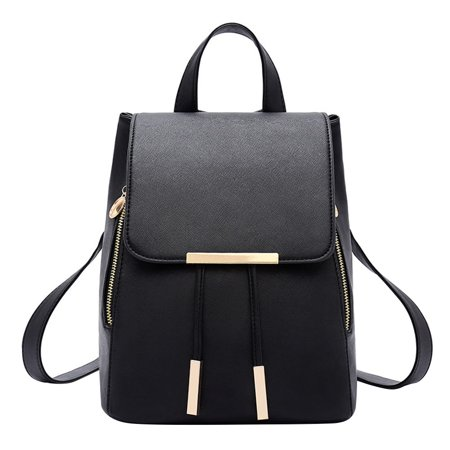 Black Leather Backpack - Fashion Shoulder Bag PU Leather Women Girls Ladies Backpack Travel Bag (Black)
