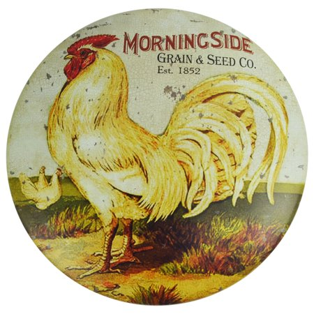 Rooster Grain&Seed Feed Round Dome Metal Button Sign Primitive/Rustic Farm (Buttons Rooster)