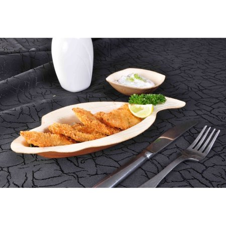 "Bio Mart Leaf Tableware/100% Natural-Eco-friendly/Re-usable/Elegant/Compostable/Disposable/Biodegradable/Party,Wedding,BBQPlates & Bowls- 9"" Fish Plate - Pack of 10 or 25 - image 2 de 5"