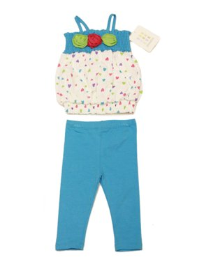 ABSORBA Toddler Girl's Hearts Pintuck Blouse 2-Pc Set 12M 18M 24M AVIG5856