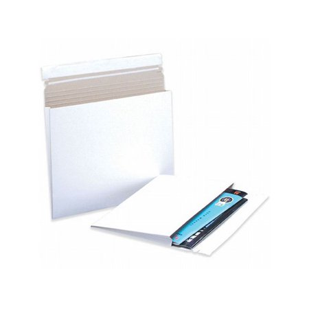Box Packaging White Gusseted Flat Mailer, (Gusseted Reusable Mailer)