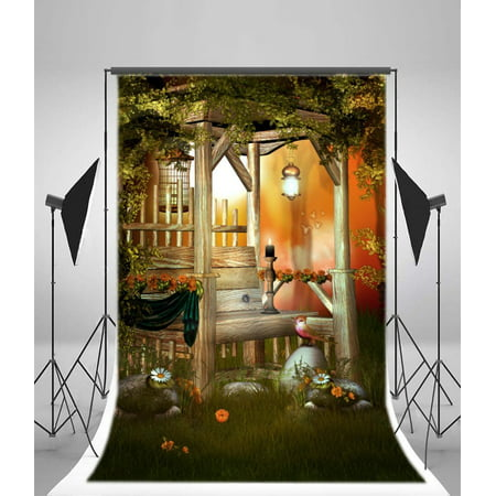 HelloDecor Polyster Fairy Tale Backdrop 5x7ft Dreamy Elf Bird Candle Flowers Wooden Bench Plant Vines Stones Photography Background Video Studio Props Little Girl Children Baby Kids Portraits](Girls Vine)
