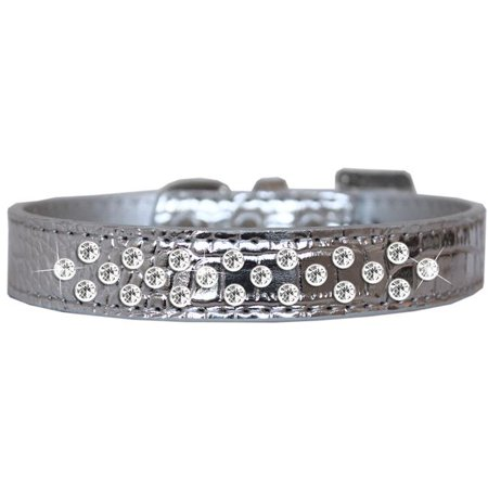 Sprinkles Clear Jewel Croc Dog Collar Silver Size - Silver Sprinkles