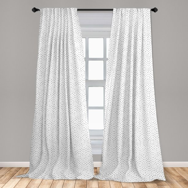 Grey And White Curtains 2 Panels Set