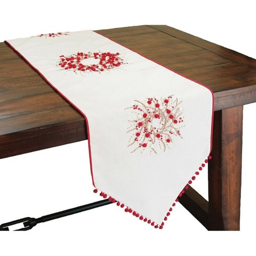 XIA Home Fashions ML10103A16 Holiday Berry Wreath Ribbon Double Layer Table Runner