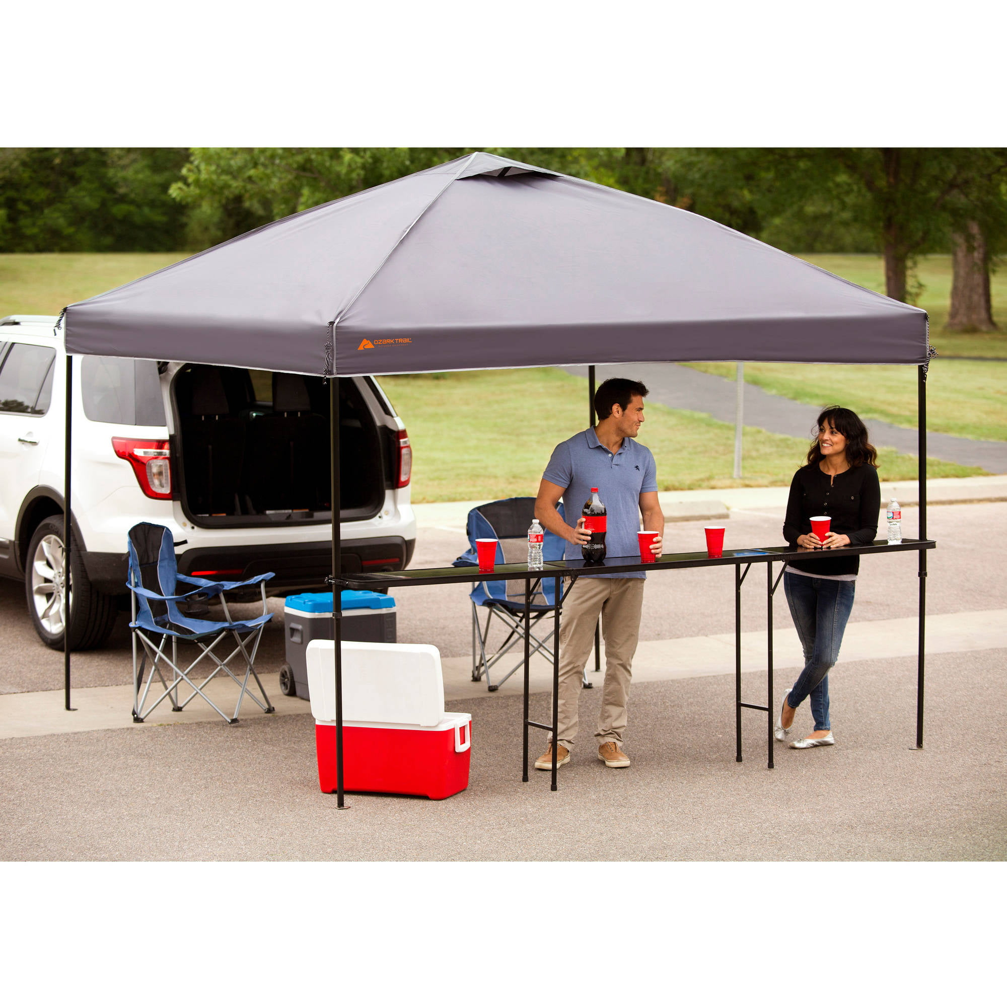 ozark trail bar-height 10' folding canopy table - walmart