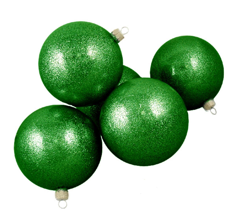 "Club Pack of 16 Green Envy Glitter Glass Ball Christmas Ornaments 3.25"" (80mm)"