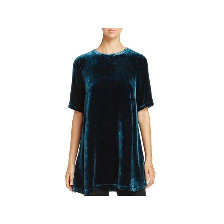 Eileen Fisher Womens Velvet Roundneck Tunic Top