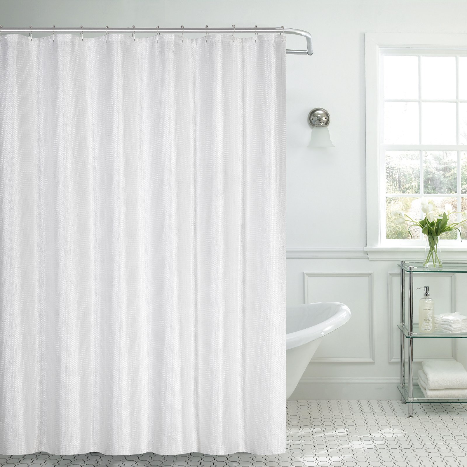 white bathroom window curtains dainty home waffle textured fabric shower curtain 21491