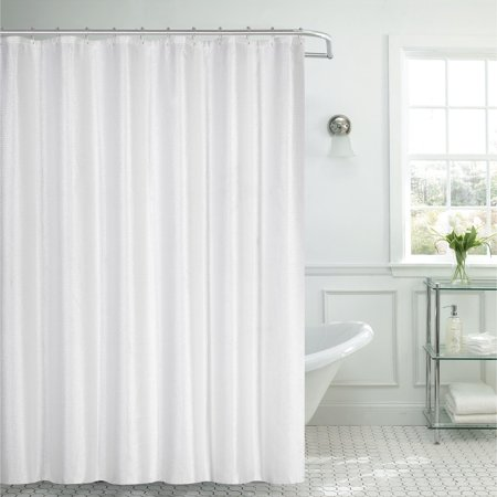 Dainty home waffle textured fabric shower curtain for Non see through glass for bathrooms