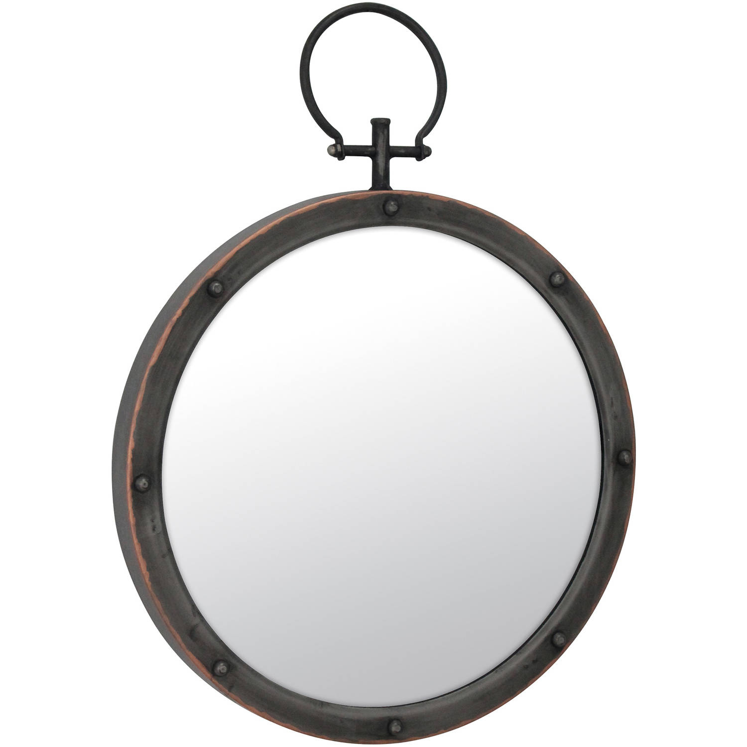 Metal Round Mirror with Ring and Rivet Trim by CKK HOME DECOR