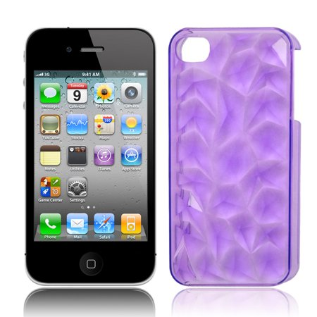 Unique Bargains 3D Water Cube Hard Back Case Cover Protector Clear Purple for Apple iPhone 4G 4S
