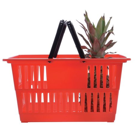 Hubert Shopping Basket Red - 18 1/4 L x 13 1/4 w x 9 1/8 H This plastic shopping basket is made completely of polypropylene. The 9 1/8  deep design is great for holding an amplitude amount of groceries at once. Each plastic shopping basket has black handles that nest into the top perfectly. Be sure to purchase a couple baskets today, to ensure you have enough for each customer. Along with the plastic shopping basket you can purchase an optional basket stand to organize your items, sold separately.