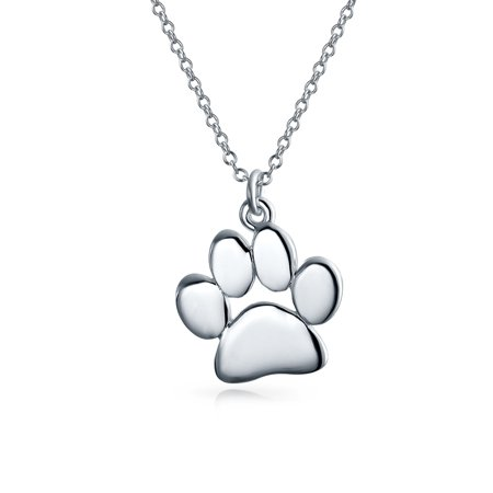 Puppy Necklace (Dog Cat Pet Kitten Puppy Paw Print Pendant Necklace For Women For Teen Shinny Polished 925 Sterling Silver With)