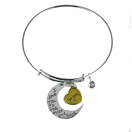 Mom Mother Bangle Bracelet Mothers Day I Love You To The Moon Gift (Bracelets For Mother's Day)