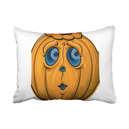 WinHome Cute Girly Vintage Halloween Cartoon Pumpkin Face Simple Pattern Polyester 20 x 30 Inch Rectangle Throw Pillow Covers With Hidden Zipper Home Sofa Cushion Decorative Pillowcases - Halloween Pumpkin Faces Patterns