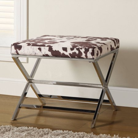 Coaster Contemporary Stool in White and Brown Cow