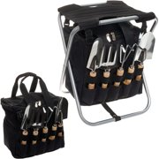 PICNIC TIME NEW 5-Piece Gardening Tool Set w/ Removable Tote & Folding Seat