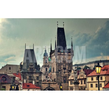 Old Medieval Tower and Sculptures on Famous Charles Bridge in Prague, Czech Republic. Print Wall Art By rglinsky