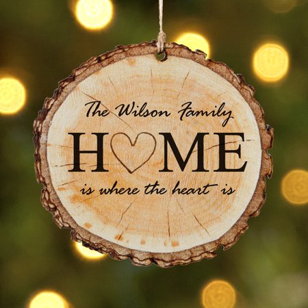 Personalized Heart of the Home Wood Christmas Ornament