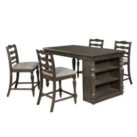 Furniture of America Wilson Rustic Gray Counter Height USB Kitchen Island Table