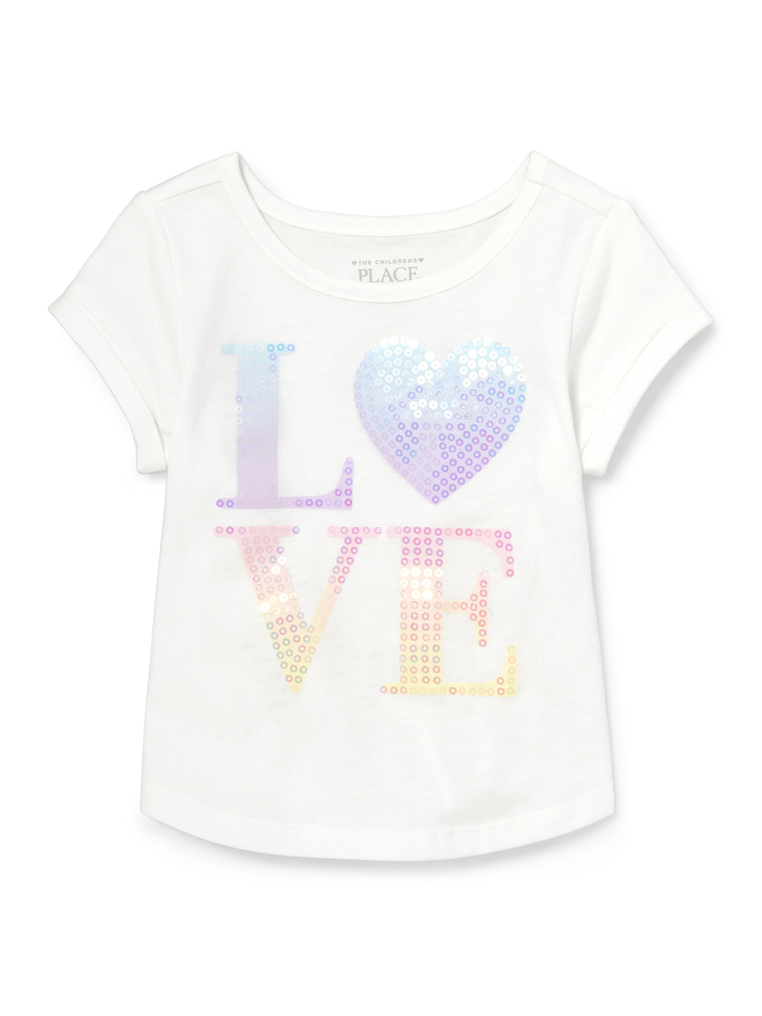 Short Sleeve Rolled Sleeve Graphic Top (Baby Girls & Toddler Girls)