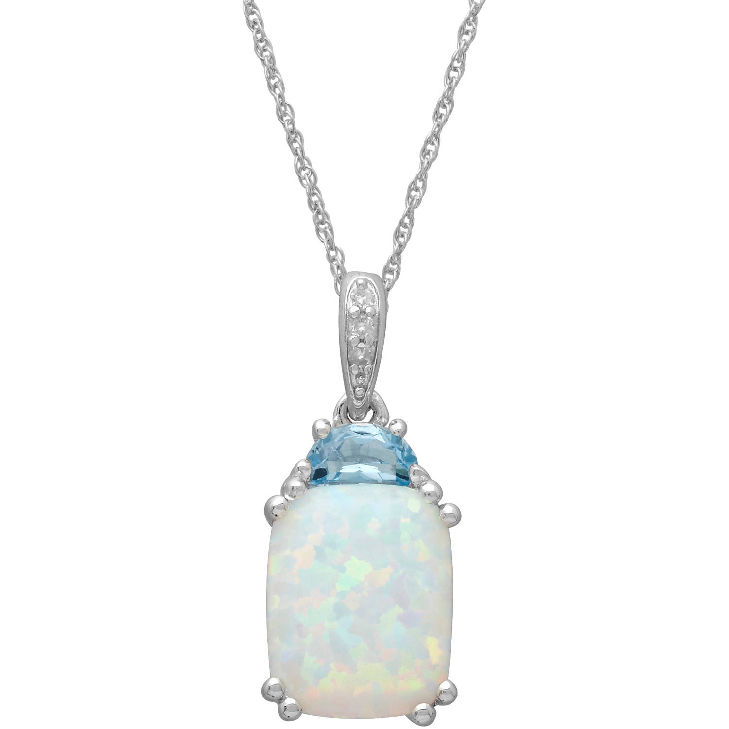 Created Opal and Blue Topaz Diamond Accent Pendant in Sterling Silver, 18