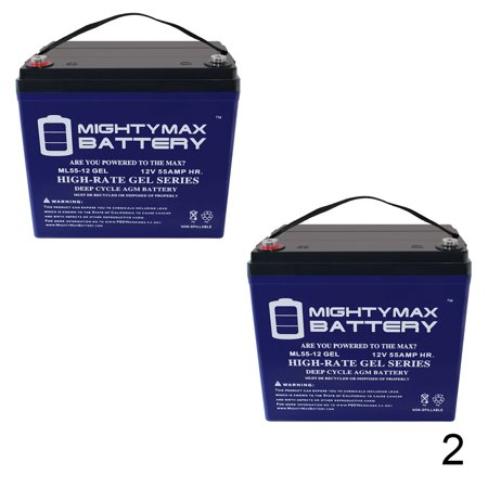 12V 55AH GEL Battery for Challenger Sport J55 Scooter - 2 Pack (Challenger Sports Pack)