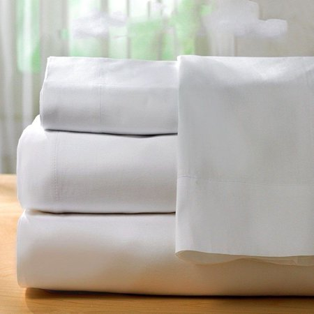 GHP Queen Size T250 Percale White Poly/Cotton Blend Deep Pocket Hotel Sheet (T250 Sheet)