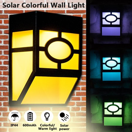 Lawn Deck Art (Solar Powered LED Wall Light,Outdoor Security Lamp,6000K/2700K Waterproof,Warm light / RGB color light mode,for Landscape Yard Lawn walllight Fence Deck Roof Lighting Decoration )