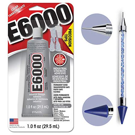 Bundle - E6000 1.0 Ounce (29.5mL) Tube with Precision Tips Industrial Strength Adhesive for Crafting and Pixiss 6-inch Jewel Picker Setter Pickup Tool - Wax Pencil Rhinestone Applicator Kit](Crafting Stores)