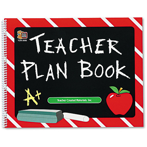 "Teacher Created Resources Plan Book, Spiral-Bound, 9-1/2"" x 12"", 96 Pages"